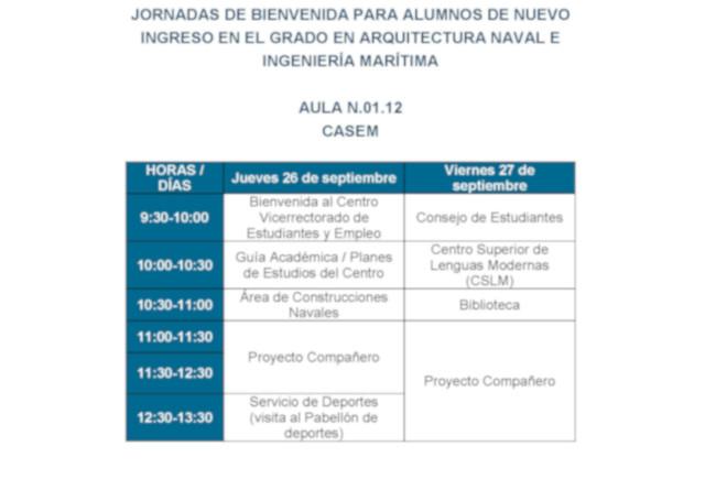 Jornadas de Bienvenida a alumnos de nuevo ingreso 2019-20